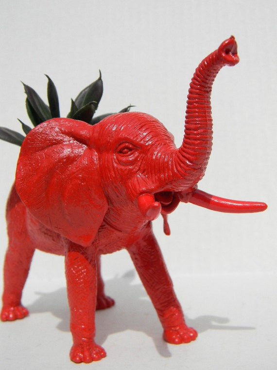 Elephant Planter Rich Red Great Dorm, Nursery, Decor or Baby Shower Gift Ready to Plant