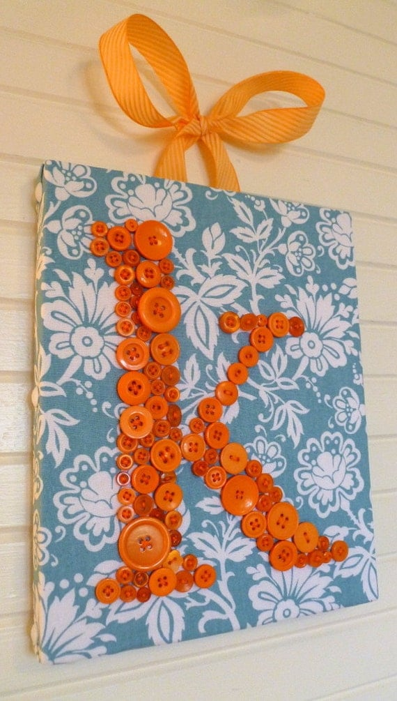Personalized Nursery Wall Art, Button Letter K, Kids Wall Art, Button Art, Birthday Gift, Girl Nursery Art, Wall Canvas or Ready-to-Frame