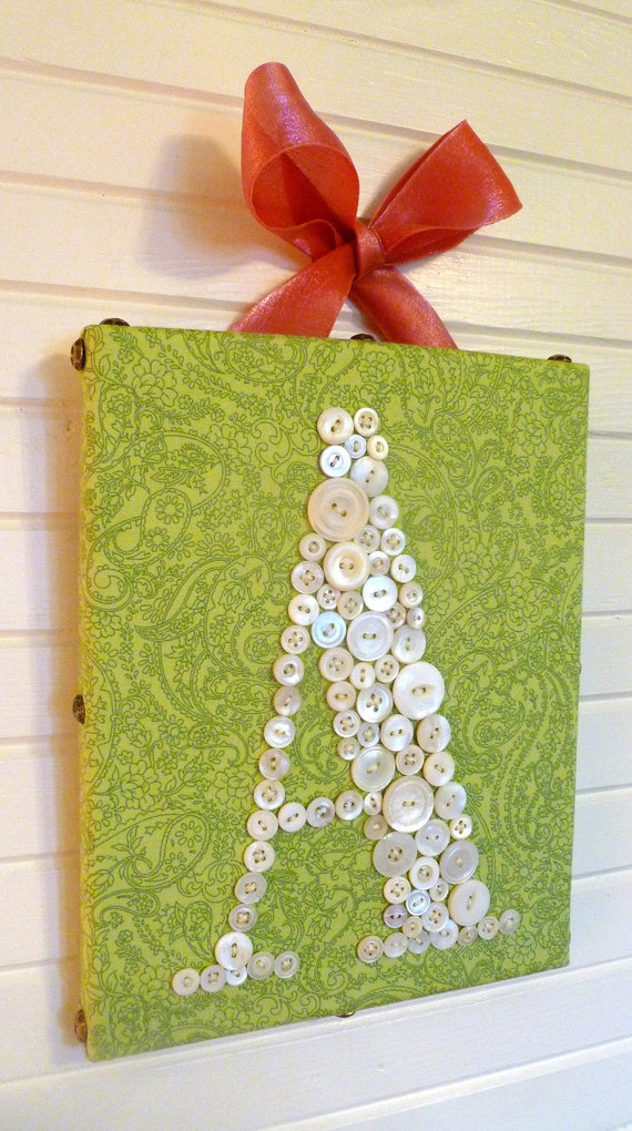 Baby Nursery Button Monogram in Vintage Mother of Pearl Buttons on 8x10 Canvas -- Your Choice of Fabric