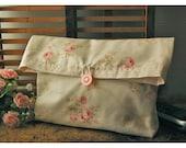 Pink Roses Clutch Handmade Shabby Chic Wedding Large PouchFlat Bottom Padded Kindle Make Up Travel Mary Rose Gadget Bag ,Gift Under 25