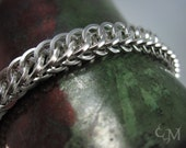 Square Ring Half Persian 4 in 1 Chainmaille Bracelet - Sterling Silver Chainmail - Ready to Ship - 10% loaned through Kiva.org