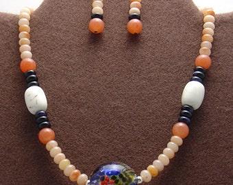 Coral Reef White Turquoise,Jasper,Agate Boro Artisan Focal Necklace Set-
