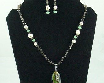 Natural Stone Bead Necklace Set with CZ Lampwork Focal Bead