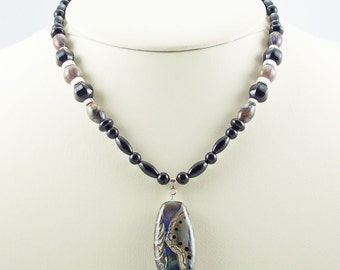 Pietersite & Onyx with Striking Lampwork Focal, Necklace Set
