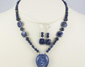 All True Blue Genuine Dumortierite Stone and Lampwork Pendant Necklace Set-