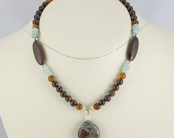 Sky Blue,Earth Browns in Stone Bead and Lampwork Pendant Necklace Set-