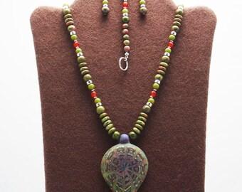 Kaleidoscope Boro Lampwork Pendant Necklace Set (Bracelet Included)