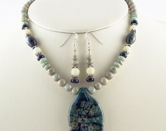 Bold Blues in Natural Stone Beads, Organic Look Lampwork Focal Necklace Set
