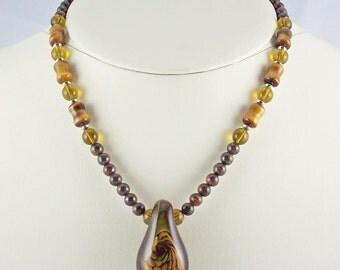 Rich Browns and Golds Enhance Unique Organic Lampwork Pendant,Necklace Set