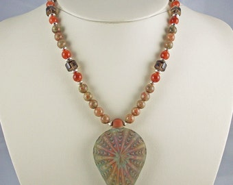 Fall-Colored Kaleidoscope of Natural Stone Beads,Lampwork Pendant,Necklace Set