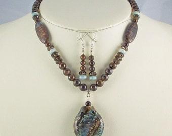 Natural Genuine Aquamarine with Organic Lampwork Pendant, Necklace Set
