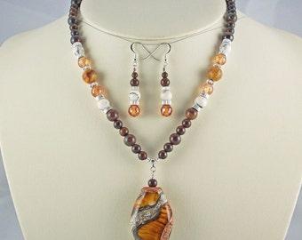Cubic Zirconia,Onyx,Tiger Iron, Electroformed Lampwork Pendant,Necklace Set
