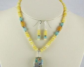 Sweet Creamy Opal,Amazonite with Pastels Organic Lampwork Pendant Necklace Set