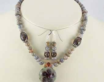 Soft Grays and Browns in a Stylish Composition,Lampwork Pendant Necklace Set
