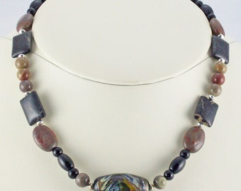 Rich Robust Brown Toned Natural Jasper,Onyx, Lampwork Focal Bead Necklace