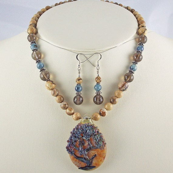 Tree of Life Lampwork Pendant with Picture Jasper,Kyanite,Smoky,Necklace Set