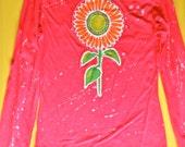 Sunflower batik applique T-Shirt  long sleeved red splatter white women size S, M, L, XL