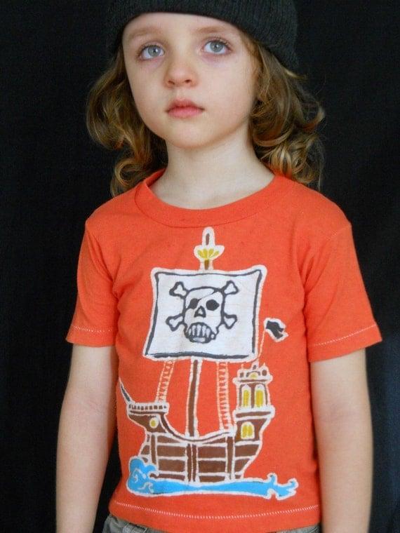 Pirate ship, pirate hook, pirate birthday gift Eco Kids organic cotton t shirt boys clothing batik clothing hand dyed orange custom t shirt