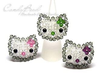 Swarovski Ring;crystal ring;Cutie Kitty Cat Ring - Sold Individually R001-01