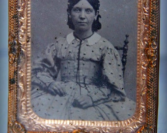 Antique Tintype Portrait of a Lady (Ninth 1/9th Plate) with Original Mat, Glass, Preserver, and Seals 1860s 1870s Civil War Era