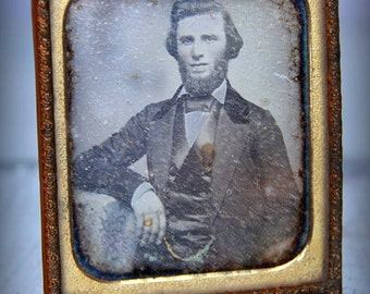 Antique - Very Early Daguerreotype Hand-Tinted Portrait of a Gentleman 1850s 1860s (Sixth 1/6 Plate)