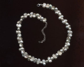 Silver Peanut Pearl Necklace