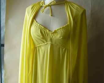 Vintage Yellow Maxi DRESS with CAPE / size 6 8 10 / Mod Floor Length Evening / 1960s Empire Spaghetti Straps