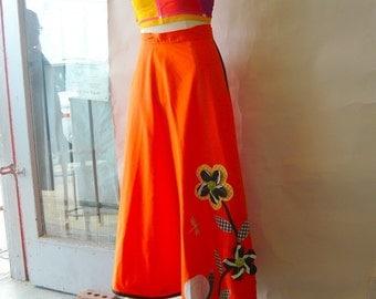 Vintage Maxi Wrap Skirt  JAN PAT ORIGINAL 60s Pop Hostess Snails Sunflower Dragonfly Orange small