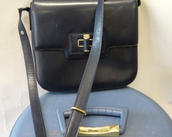 Classic GUCCI Kelly Bag Leather Purse Italy 80s Nautical Blue Adjustable Shoulder Strap Medium