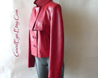 Vintage Red Leather Military Jacket / Small size 2 4 6 / Designer Donald PLINER Winter Coat / Double Breast / Made in Italy Never Worn