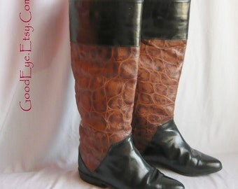 Vintage VANELI Leather Riding Boots / Size 6 B Eur 36  Uk 3 .5 / Two Tone Black Brown Flat Knee Boot / StovePipe 1990s made Italy