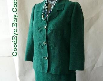 Vintage 1960s Emerld Green Suit Wool size 6 8 10 Jacket Staight Wiggle Skirt waist size 30 DAVIDOW Secretary