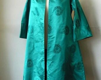 Elegant 50s Silk Opera Coat / Size range 6 8 10  / REVERSIBLE Turquoise Black / Cocktail Swing Cut Hollywood Evening /made Hong Kong BCC