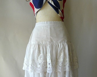 Vintage White GAUZE Cotton Tier Skirt size 2 4 small Sheer white Lace Embroidered High Waist 24 inches France