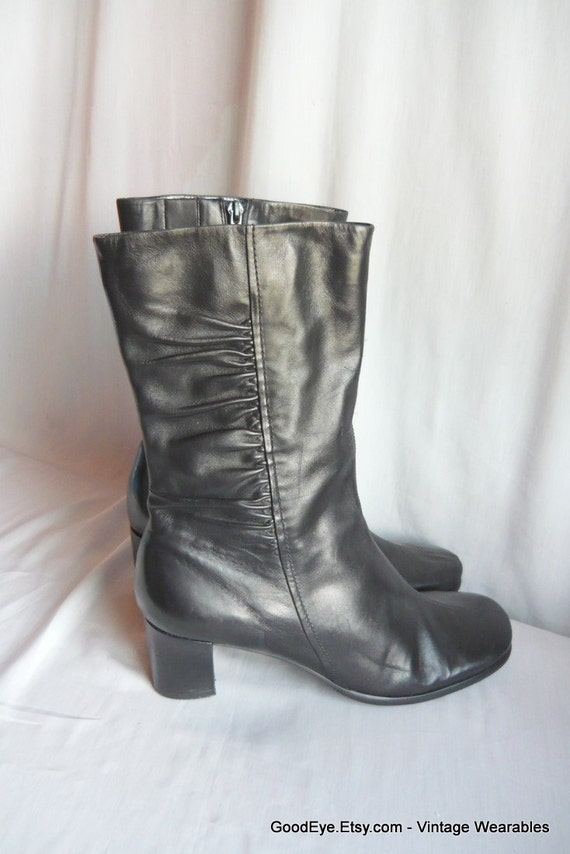 Vintage NATURALIZER Ankle Boots Leather size 9 Eur 40 UK 6 .5  Black Easy Spirit Low Chunky Heels Zipper
