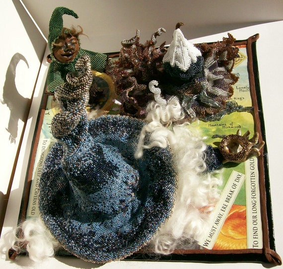 Art Object Sculpture Beads Figural Mixed Media Art Beadwork The Hobbit Award Winning 2009