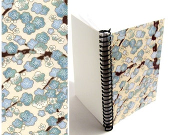 Blue Cherry Blossoms 5x7 Inches Notebook, Flowers, Spiral Bound Writing Journal Diary, Small Cute Blank A5 Sketchbook, Back to School