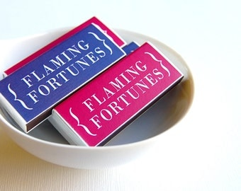 Party favor and hostess gift, funny fart gag gift -- Flaming Fortunes. Set of 6 mini matchboxes.
