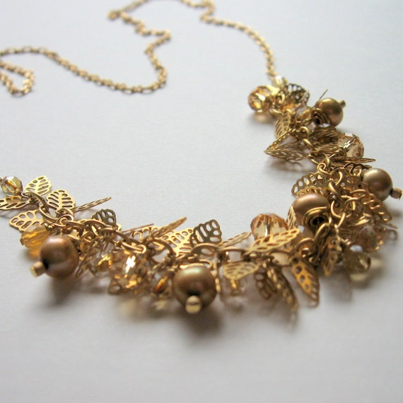 Golden Leaf Necklace  Pearls Crystals  Czech Glass  Matte Gold  Long Featured in 100 Layer Cake