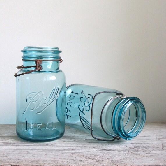 Two Vintage Ball Blue Quart Mason Jars