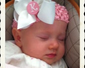 EVERYDAY HAIR BOW - Monogram Center - White and Baby Pink (perfect for newborn, infant, toddler, big girl) - Size Medium baby bows personal