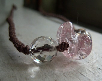 Brown Fine Hemp Necklace with Clear and Pink Glass Beads