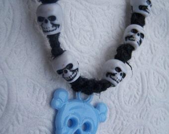 Black Hemp Unisex Necklace with Skulls