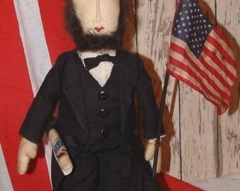 Primitive Americana Abraham Lincoln Doll PAPER Pattern Folk Art