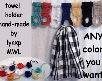 custom hand-made unique kitchen tie tea towel holders x2 hangers hoops rings loops MWL crochet