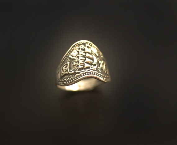 "Pirate Ship Sea Galleon ""Smooth Sailing"" ring in Sterling Silver"