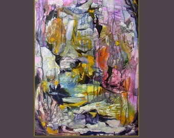 Abstract painting, gold, yellow, violet blue, pink, white, 'Blue John', 22 x 16.5