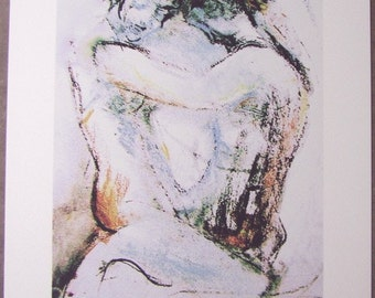 Fine Art Print, Snow Lovers, small, pale, from original pastel conte figure drawing, A6 to A3 size