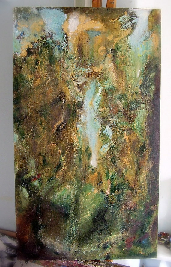 The Tower - original fine art, oil painting, pale gold, green, aquamarine, 27.5 x 15.5 inches