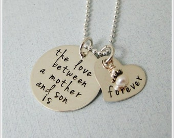 Love Between Mother And Child Is Forever Necklace - Mother Son Necklace - Mother Daughter Necklace - Hand Stamped Mother's Necklace